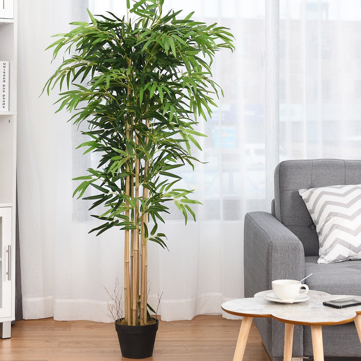 Image of 5-Feet Artificial Bamboo Silk Tree Indoor-Outdoor Decorative Planter