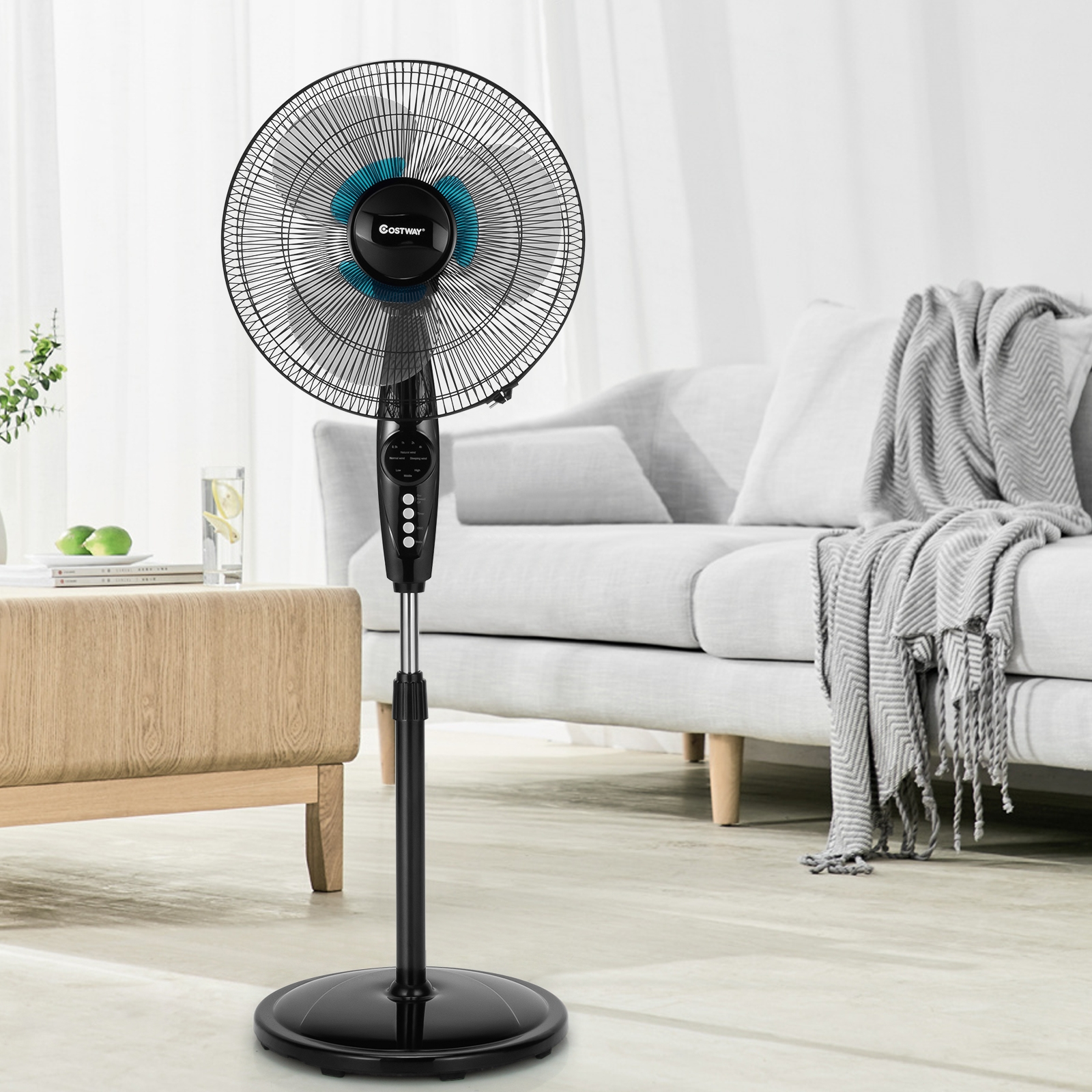 Image of 16 Inches Adjustable Height Fan with Quiet Oscillating Stand for Home and Office