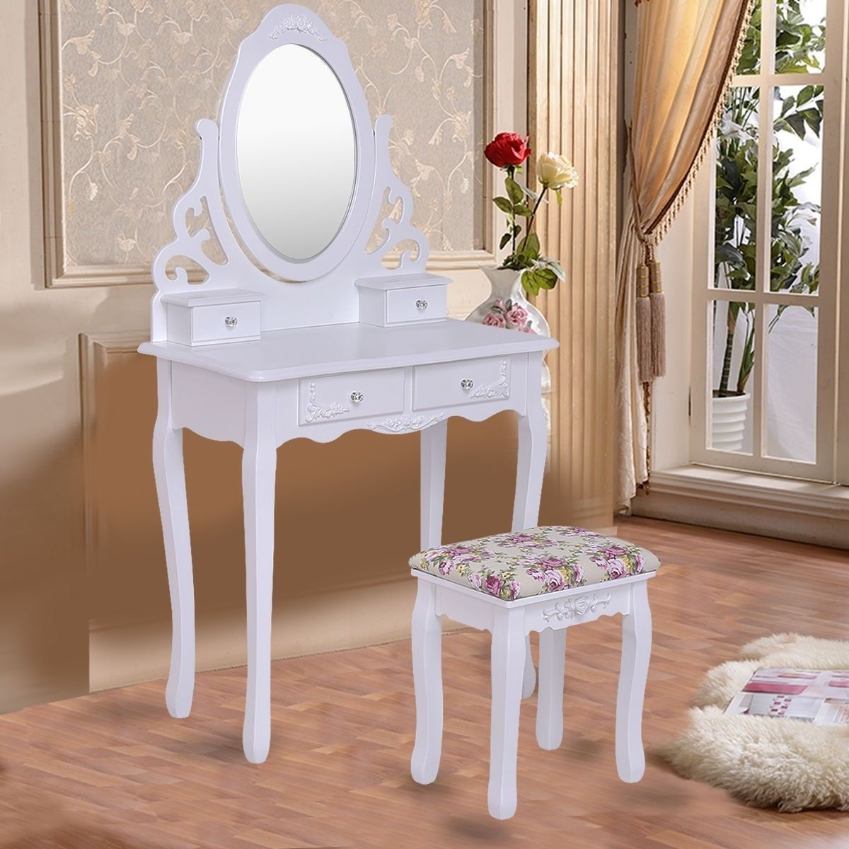 Image of Vanity Makeup Dressing Table Stool Set