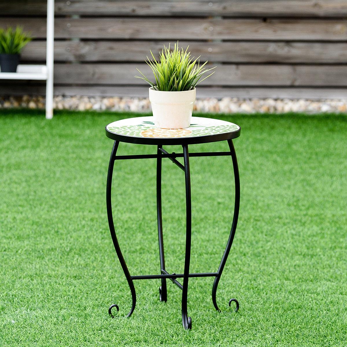Image of Outdoor Indoor Steel Accent Plant Stand Cobalt Table
