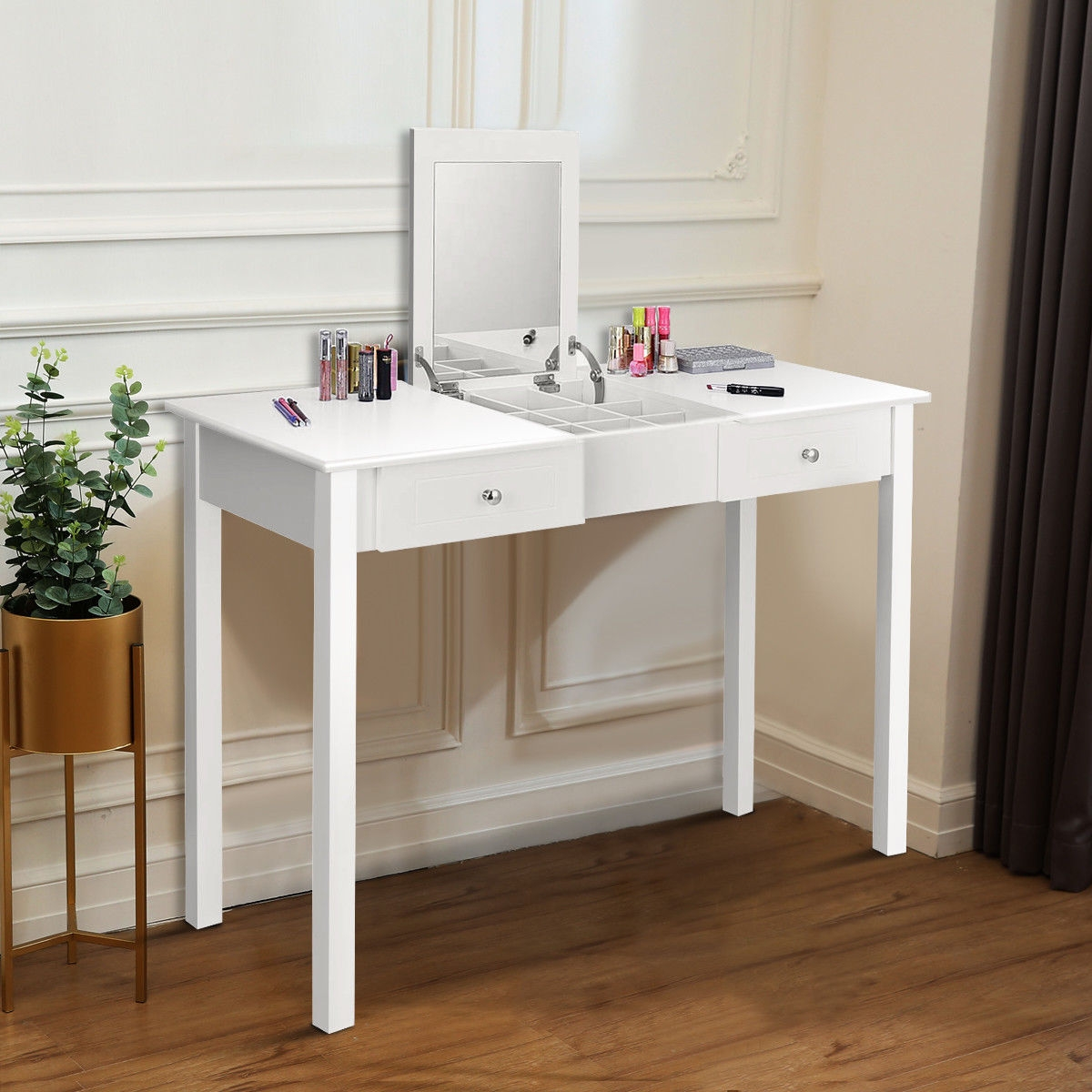 Image of Modern Vanity Dressing Table with 1 Flip Top Mirror and 2 Drawers for Girls