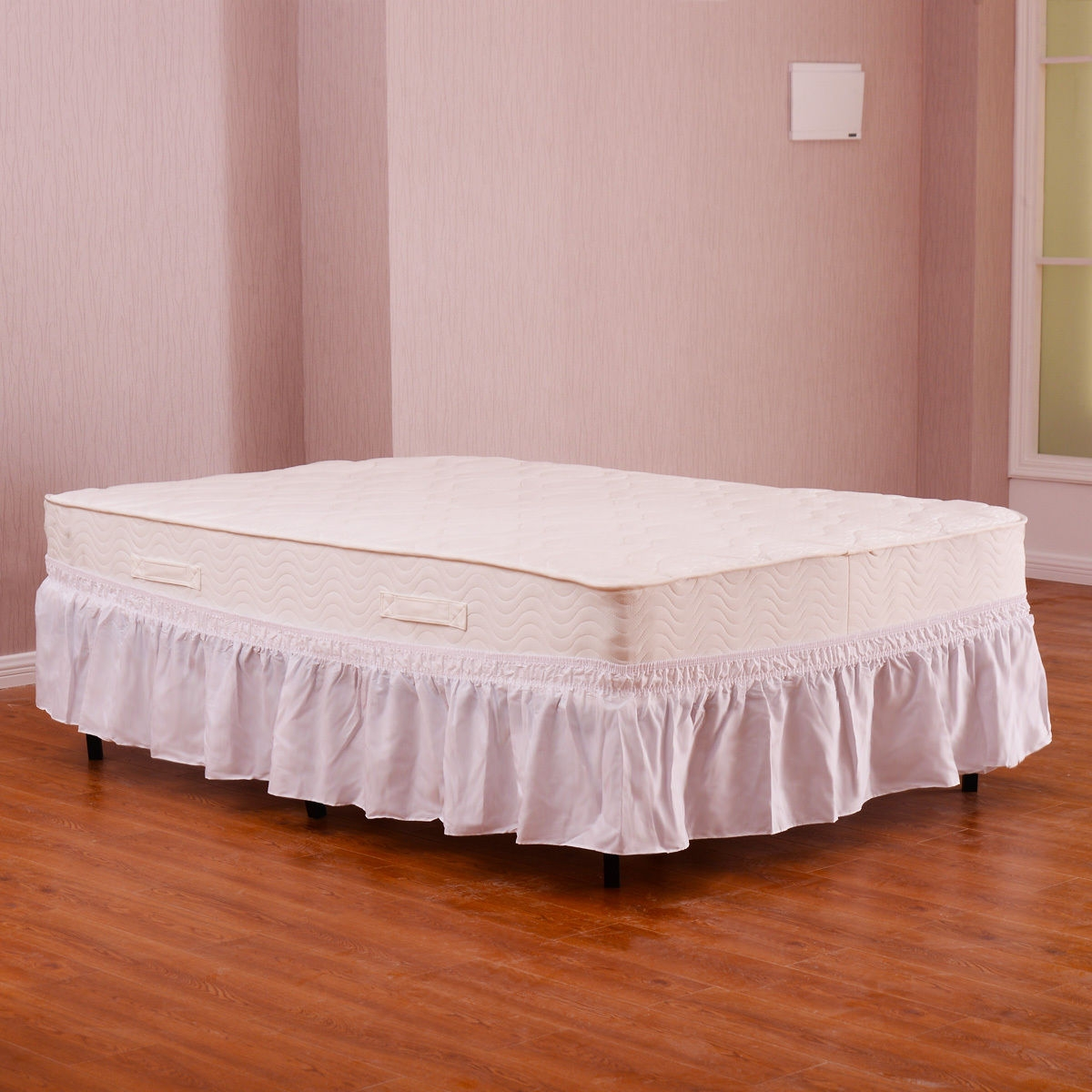 """Image of """"Twin / Full Size Around Bed 14"""""""" Elastic Wrap Ruffle Bed Skirt"""""""