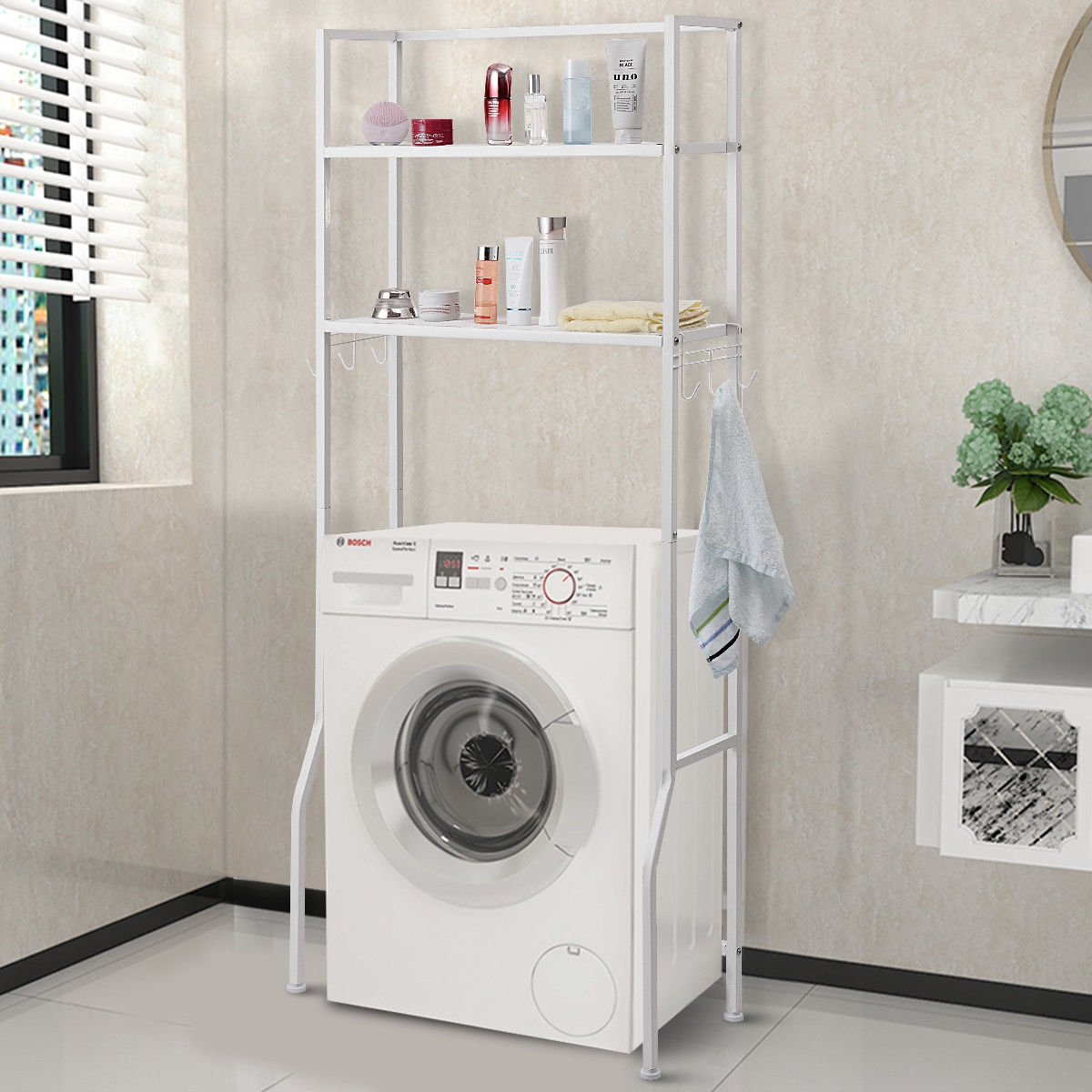 Image of 2 Tire Space Saver Storage Rack for Bathroom