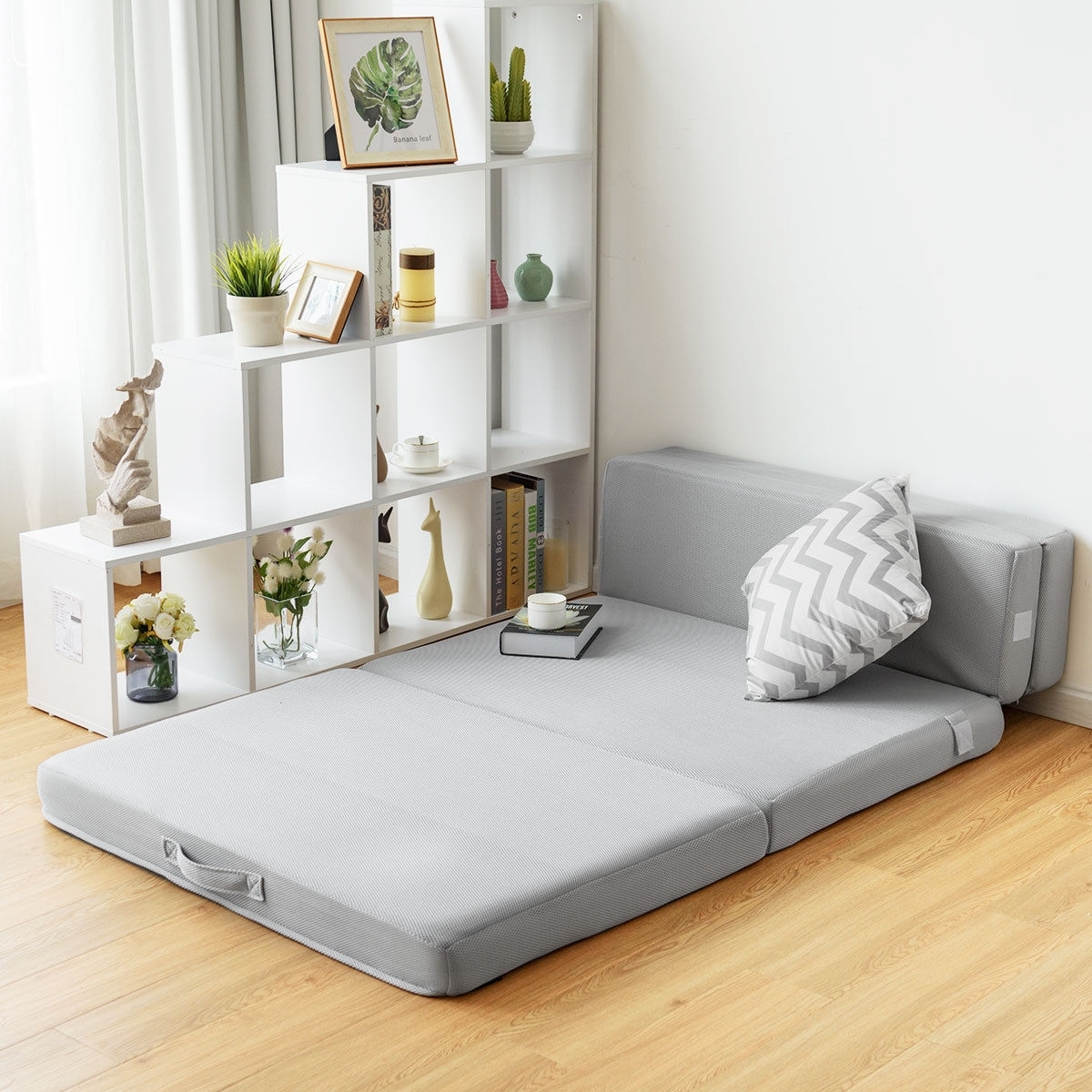 """Image of """"4"""""""" Folding Sofa Bed Foam Mattress with Handles"""""""