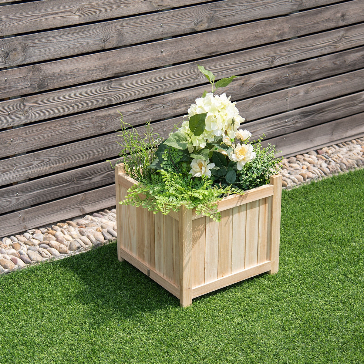 Image of Patio Lawn Garden Square Wood Flower Planter Box